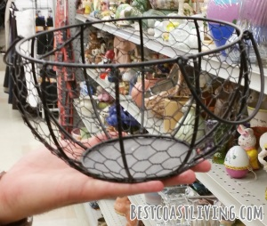 This chicken wire basket came home with me!  It is currently holding my great grandma's wooden spools in my craft room.