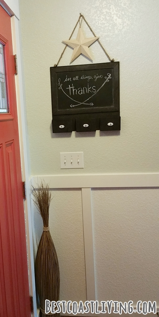 Use a chalkboard to display a seasonal message.